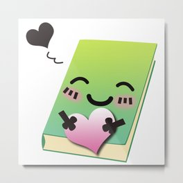 Book Emoji Love Metal Print
