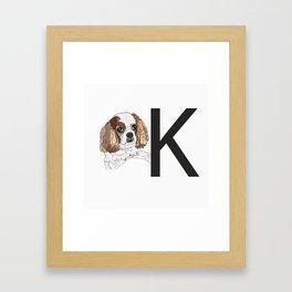 K is for King Charles Cavalier Framed Art Print