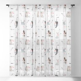 Game of cats Sheer Curtain