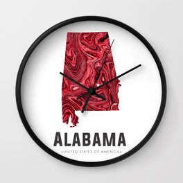 Alabama - State Map Art - Abstract Map - Red Wall Clock