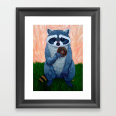 RACCOON WITH DONUT Framed Art Print