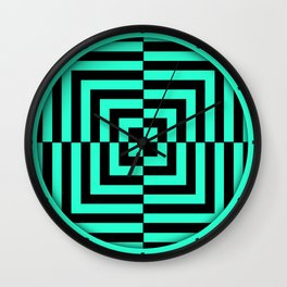 GRAPHIC GRID DIZZY SWIRL ABSTRACT DESIGN (BLACK AND GREEN AQUA) SERIES 5 OF 6 Wall Clock