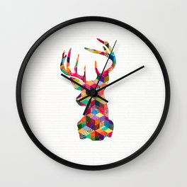 Hipster Vintage Deer Head Bright Patchwork Stripes Wall Clock
