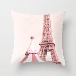Paris Nursery, Violet, Eiffel Tower Throw Pillow