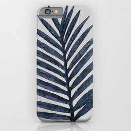 Botanical Navy Indigo Blue Vintage Palm Leaf Watercolor Painting Art Print Wall Decor  iPhone Case