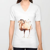camel V-neck T-shirts featuring Camel by Katrin Kadelke