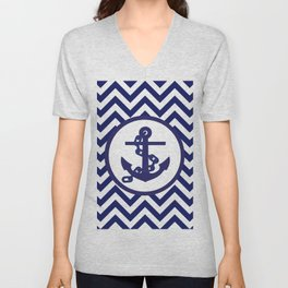 Anchor on Blue and White Chevron Pattern. Unisex V-Neck