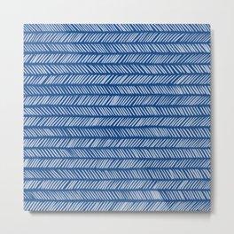 Prussian Blue Small Herringbone 1 Metal Print
