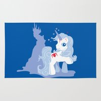 the last unicorn Area & Throw Rugs featuring My Little Last Unicorn by Ashley Hay