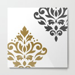 Scroll Damask Art I Gold & Grey on White Metal Print