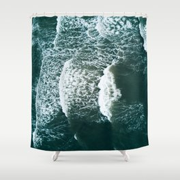 Wavy Waves on a stormy day Shower Curtain