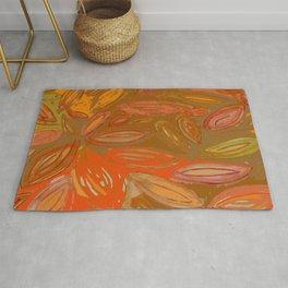 Watercolor Leaves in chocolate brown pumpkin orange terracotta moss green Rug