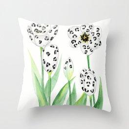 Wild Flowers - Snow Leopard Throw Pillow