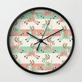 Candy Cane Reindeer Wall Clock