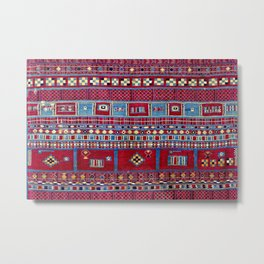 Tunisian Flatweave Antique Tribal Rug Metal Print
