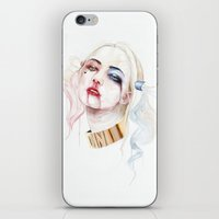 harley quinn iPhone & iPod Skins featuring Harley Quinn by Tyler Revenant