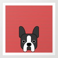 boston terrier Art Prints featuring Boston Terrier  by lllg