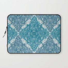Teal & White Lace Pencil Doodle Laptop Sleeve