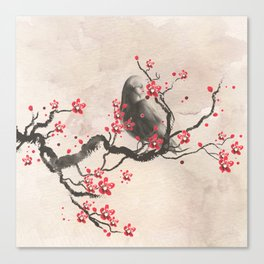 Cherry Blossom Raven Canvas Print