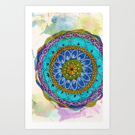 Splotch Art Mandala Turquoise Art Print