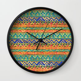 Tribal Geometric Watercolor and Gold Pattern Wall Clock