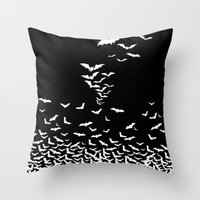 vampire Throw Pillows featuring Vampire by Gehirnzellenoptik
