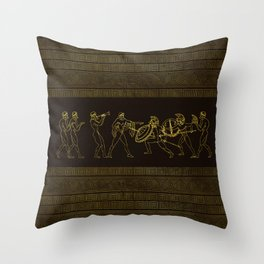 Ancient Sparta  Greece scene on greek pattern Throw Pillow