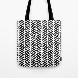 Simple black and white handrawn chevron - horizontal Tote Bag