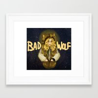 bad wolf Framed Art Prints featuring BAD WOLF by Aviculae