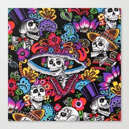 Skull with hat Canvas Print