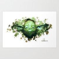 yoda Art Prints featuring Yoda by Rene Alberto