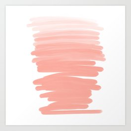 Modern abstract pink coral ombre brushstrokes pattern Art Print
