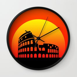 Sunset and colosseum in a red sky Wall Clock