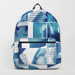 Blue Watercolor Typographical Fragments Cheater Quilt Backpack