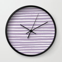 French Lavender x White Stripes Wall Clock