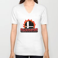 nintendo V-neck T-shirts featuring Nintendo Smashers by Alecxps