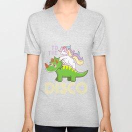 Unicorn Dinosaur Disco Funny Gift Kids Unisex V-Neck
