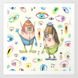 two quirky cute roly poly cyclops and some eyes, ivory cream off white natural white Art Print