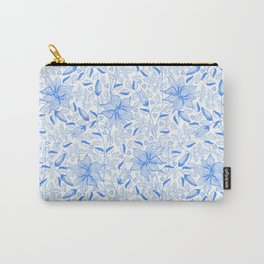 FLOWERS, PETALS AND HEARTS - BLUE Carry-All Pouch