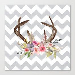 Deer Antlers with flowers Canvas Print