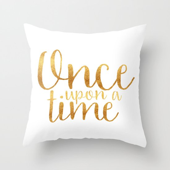 Once Upon A Time Gold Throw Pillow By Bookwormboutique