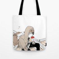 doberman Tote Bags featuring Monsieur Doberman by Cassandra Jean