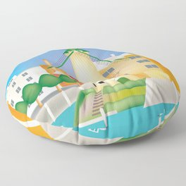 Rotterdam, Holland - Skyline Illustration by Loose Petals Floor Pillow