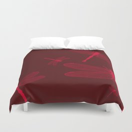Five Red Dragonflies Duvet Cover