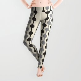 Geometric Droplets Pattern Series in Black Gray Cream Leggings