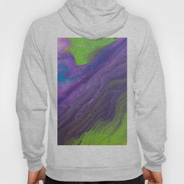 Fluid Art Acrylic Painting, Pour 29, Lime Green, Purple & Blue Blended Color Hoody