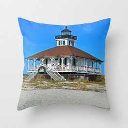 Boca Grande Lighthouse at Christmas Throw Pillow
