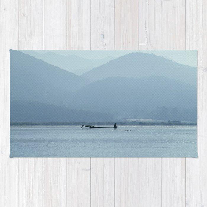 Fisherman on Inle Lake Rug