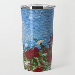 flowers meadow nature scenery painting Travel Mug