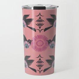 Blackbirds and Pink Blooms Travel Mug